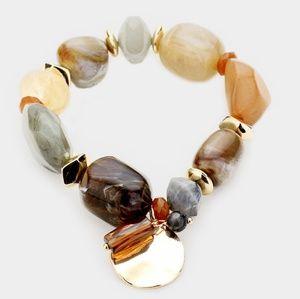 Neutral Natural Two Tone Stone Disc Charm Bracelet